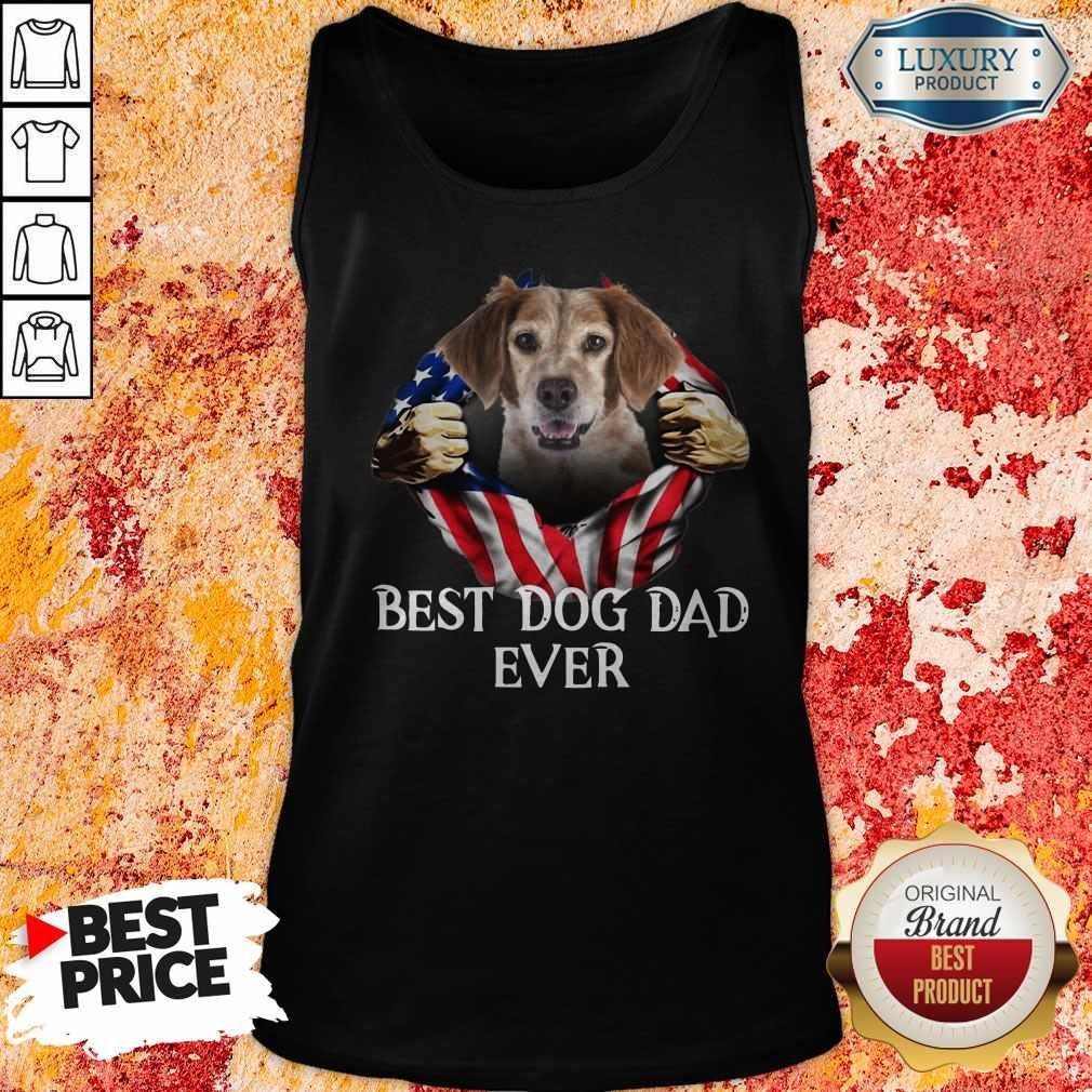Pretty Blood Inside Me Brittany Dog American Flag Best Dog Dad Ever Tank Top