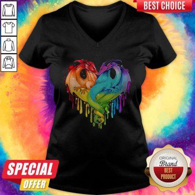 Pretty LGBT Dragon Heart V-neck