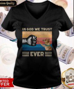 Pretty Pug In God We Trust Ever American Flag Independence Day Vintage V-neck