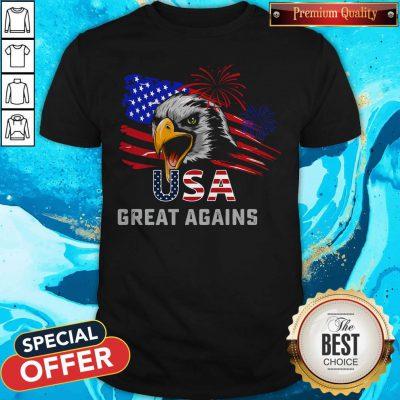 Pretty Usa Great Again 4th Of July Bald Eagle American Flag Shirt