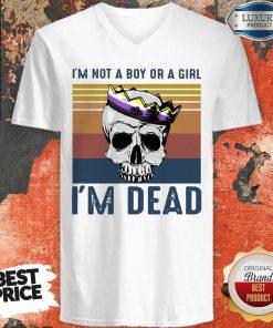 Excellent Skull LGBT I'M Not A Boy Or A Girl I'M Dead Vintage V-neck