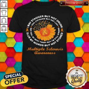 Nice Flower And Cancer Awareness Multiple Sclerosis Awareness Shirt