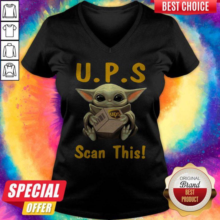 Pretty Baby Yoda Hug UPS Scan This V-neck