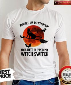 Pro Black Cat Buckle Up Buttercup You Just Flipped My Witch Switch Moon Shirt