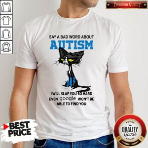 Say A Bad Word About Autism I Will Slap You So Hard Even Google Won'T Be Able To Find You Shirt