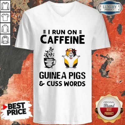 Stunning I Run On Caffeine Guinea Pigs And Cuss Words V-neck