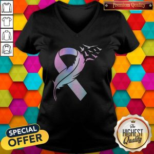 Super Nice I Am Very Happy About Wings Bird Cancer Awareness V-neck
