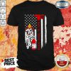 Wonderful Firefighter Dog Back The Red American Flag Shirt