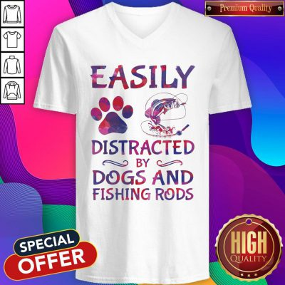 Easily Distracted By Dogs And Fishing Rods V-neck