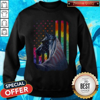 Lgbt Horse American Flag Independence Day Sweatshirt