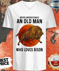 Never Underestimate An Old Woman Who Loves Bison v-neck