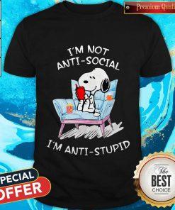 Snoopy Read Book I'm Not Anti-Social I'm Anti -Stupid Shirt