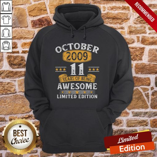 11 Years Old Gifts Vintage October 2009 11th Birthday Gift Hoodie