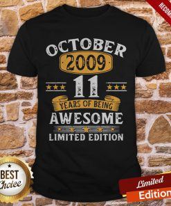 11 Years Old Gifts Vintage October 2009 11th Birthday Gift Shirt