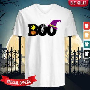 Boo Witch Pumpkin Spider Gift Halloween Day V-neck