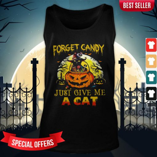 Forget Candy Just Give Me A Cat Halloween Tank-Top
