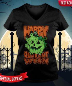 Funny Halloween Pumpkin Saying 2020 Spooky Quarantine V-neck