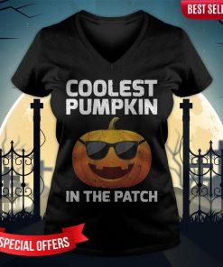 Halloween Coolest Pumpkin In The Patch Boys Girls Kids V-neck