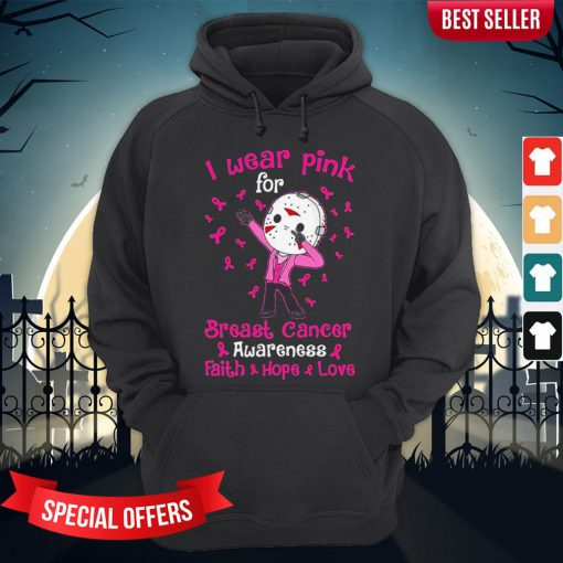 Halloween Michael Myers I Wear Pink For Breast Cancer Awareness Faith Hope Love Hoodie