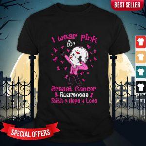 Halloween Michael Myers I Wear Pink For Breast Cancer Awareness Faith Hope Love Shirt