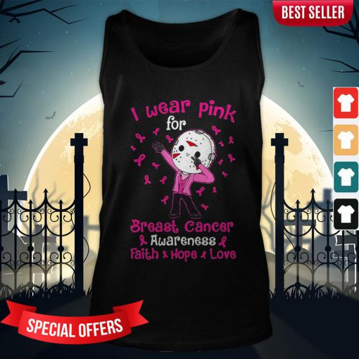 Halloween Michael Myers I Wear Pink For Breast Cancer Awareness Faith Hope Love Tank-Top