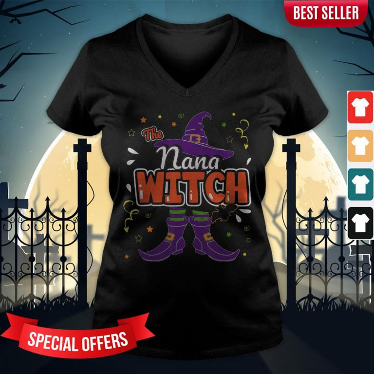 Halloween The Nana Witch Family Matching Funny Group Women V-neck