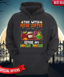 Halloween This Witch Needs Coffee Before Any Hocus Pocus Ghost And Pumpkin Hoodie