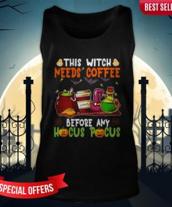Halloween This Witch Needs Coffee Before Any Hocus Pocus Ghost And Pumpkin Tank-Top