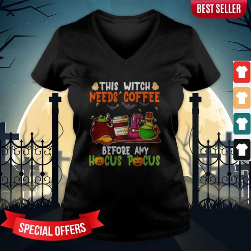 Halloween This Witch Needs Coffee Before Any Hocus Pocus Ghost And Pumpkin V-neck