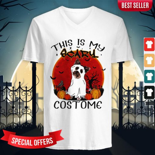 Halloween Yorkie This Is My Scary Costome V-neck