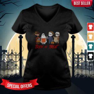 Horror Character Trick Or Treat Halloween V-neck