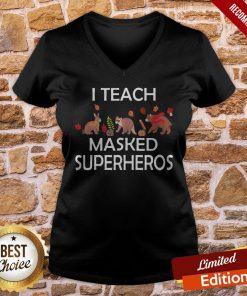 I Teach Masked Superheroes Funny Pumpkin Animals Lovers V-neck