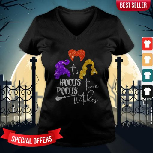 It's Hocus Pocus Time Witches Halloween V-neck