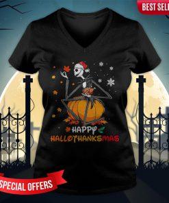 Jack Skellington Happy Hallothanksmas V-neck