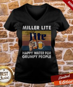 Miller Lite Happy Water For Grumpy People Vintage Retro V-neck