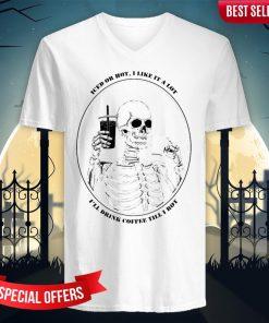 Skeleton Drinking Coffee Day Of The Dead Dia De Muertos V-neck