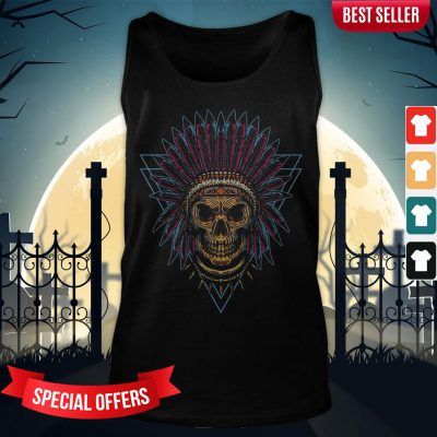 Skull Indian Triangle Day Of The Dead Vintage Tank-Top