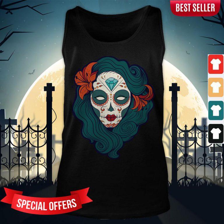 Sugar Skull Woman Day Dead Dia De Los Muertos Tank-Top