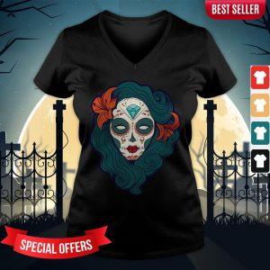 Sugar Skull Woman Day Dead Dia De Los Muertos V-neck