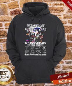 The Nightmare Before Christmas 27th Anniversary 1993 2020 Thank You For The The Nightmare Before Christmas 27th Anniversary 1993 2020 Thank You For The Memories HoodieMemories Hoodie