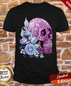 Unique Cool Pink Floral Blue Flowers Skull Shirt