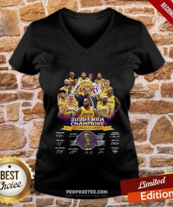 2020 Nba Champions Los Angeles Lakers Signatures V-neck- Design By Proposetees.com