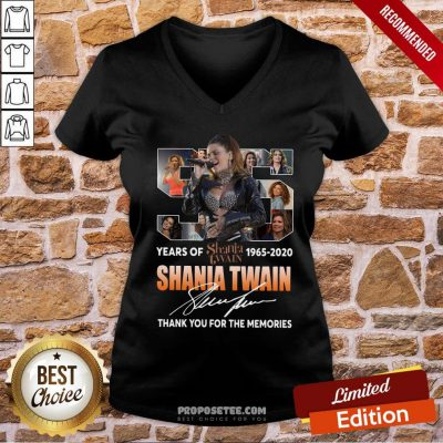 Awesome 55 Years Of Shania Twain 1965 2020 Thank You For The Memories Signature V-neck- Design By Proposetees.com