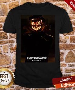 Creepy Smiling Pumpkin Man Happy Halloween 31 October Shirt