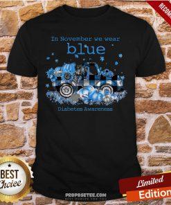Diabetes Awareness In November We Wear Blue Pumpkin Shirt- Design By Proposetees.com