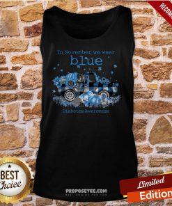 Diabetes Awareness In November We Wear Blue Pumpkin Tank-Top- Design By Proposetees.com