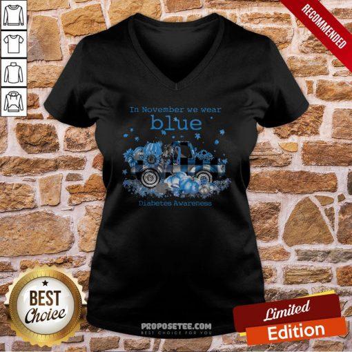 Diabetes Awareness In November We Wear Blue Pumpkin V-neck- Design By Proposetees.com