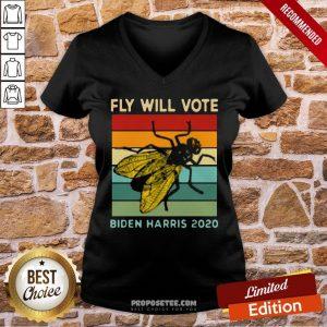Fly Will Vote Biden Harris 2020 Vintage V-neck- Design By Proposetees.com