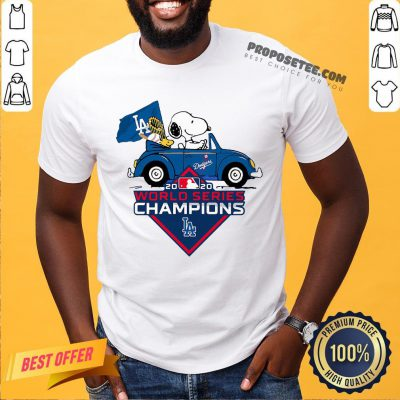 Funny Snoopy And Woodstock Los Angeles Dodgers World Series Champions Shirt- Design By Proposetees.com