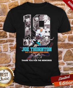 Good 19 Joe Thornton San Jose Sharks 2005 2020 Signature Thank You For The Memories Shirt- Design By Proposetees.com